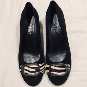 Franco Sarto leather suede black kitten heels 6